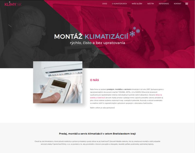 ClickEshop referencie - Web stránka na prodej, servis a montáž klimatizací